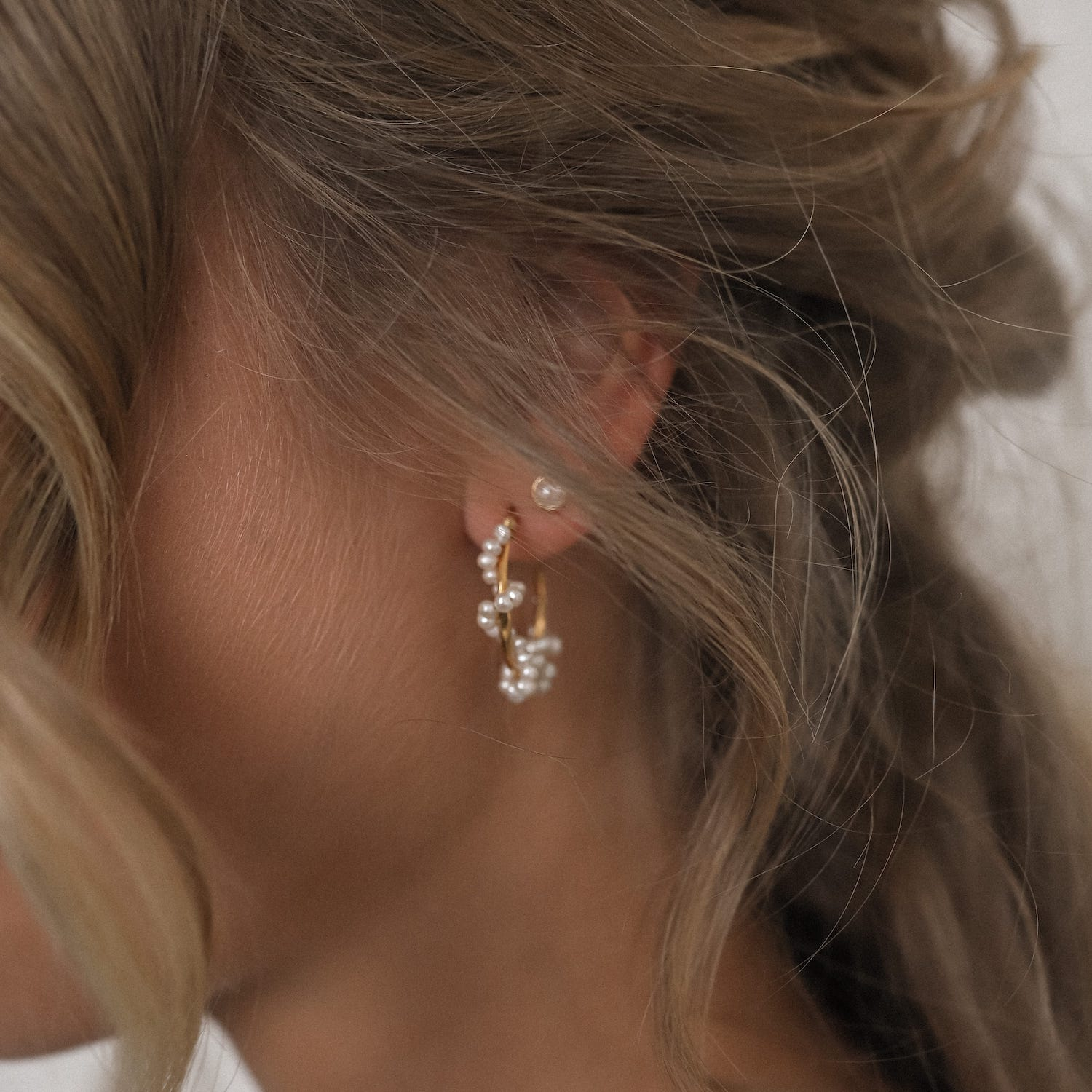 Braided Pearl Hoops Gold Fafe Collection