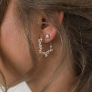 Braided Pearl Hoops Silber Pearl Studs Fafe Collection