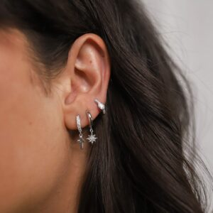 Shiny Cross Hoops Silber Fafe Collection Maia Hoops