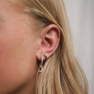 Shiny Luna Earring Charm Heart Hoops Silber