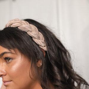 Velvet Braided Headband Beige