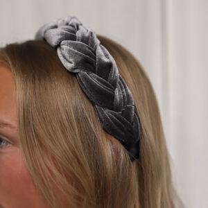 Velvet Braided Headband Grey